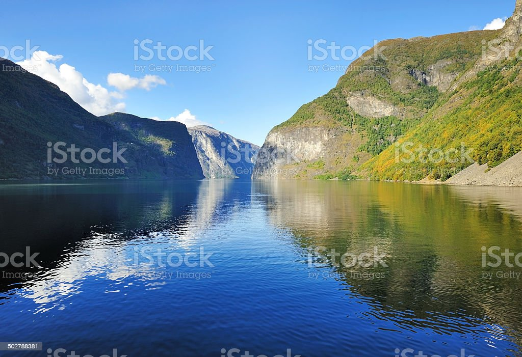Norwegian fjords in autumn stock photo