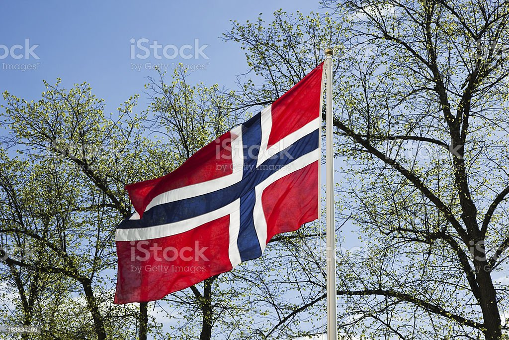 Norwegian flag  and blue sky in spring. stock photo