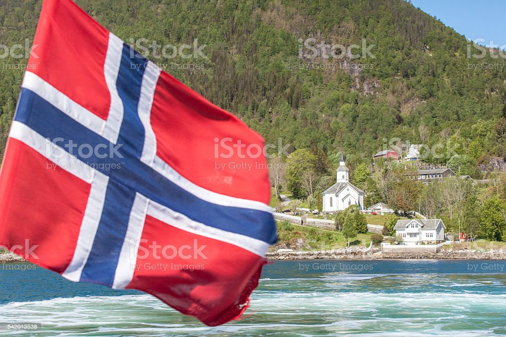 Norwegian flag and fjord stock photo