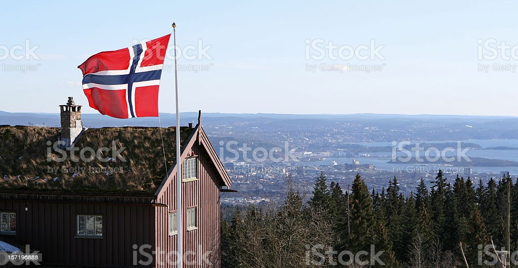 Norwegian flag and view of Oslo- Norway royalty-free stock photo