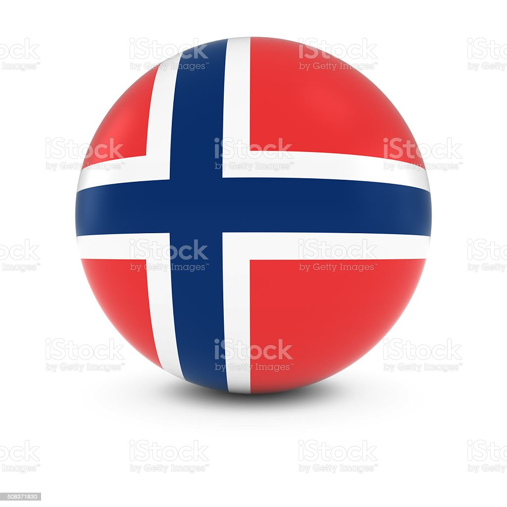 Norwegian Flag Ball - Flag of Norway on Isolated Sphere stock photo