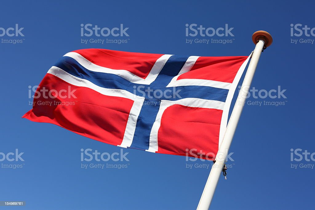 Norwegian Flag blowing in the wind stock photo
