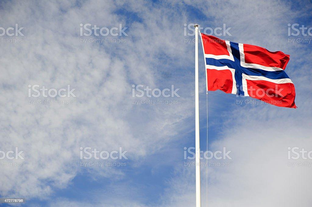 Norwegian flag waving on the wind stock photo