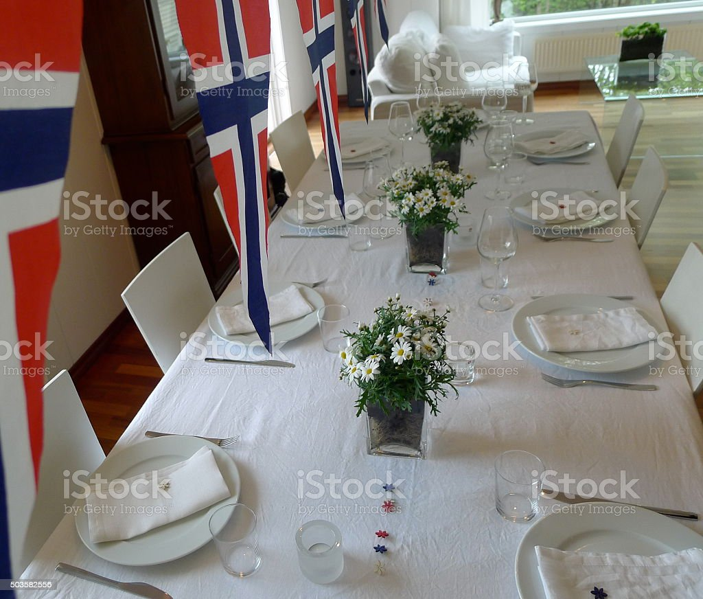 Norwegian flags and table stock photo