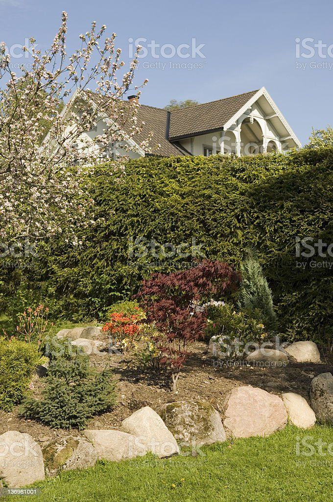Norwegian garden stock photo