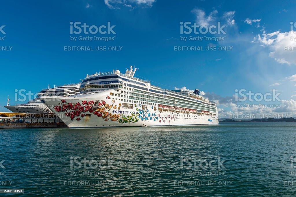 Norwegian Gem at port in San Juan stock photo