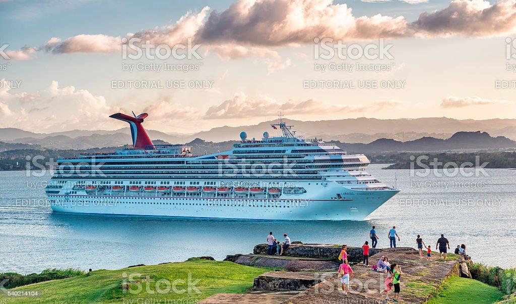 Norwegian Gem sailing near San Juan stock photo