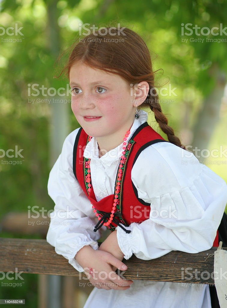 Norwegian Girl in Bunad stock photo