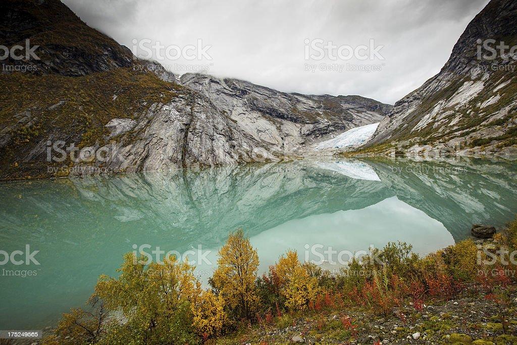 Norwegian glacier Nigadsbreen with lake royalty-free stock photo