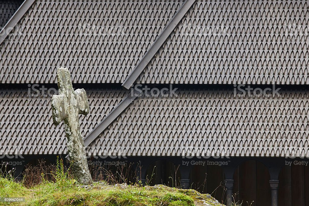 Norwegian graveyard and stave church roof. Fantoft. Bergen. Norw stock photo