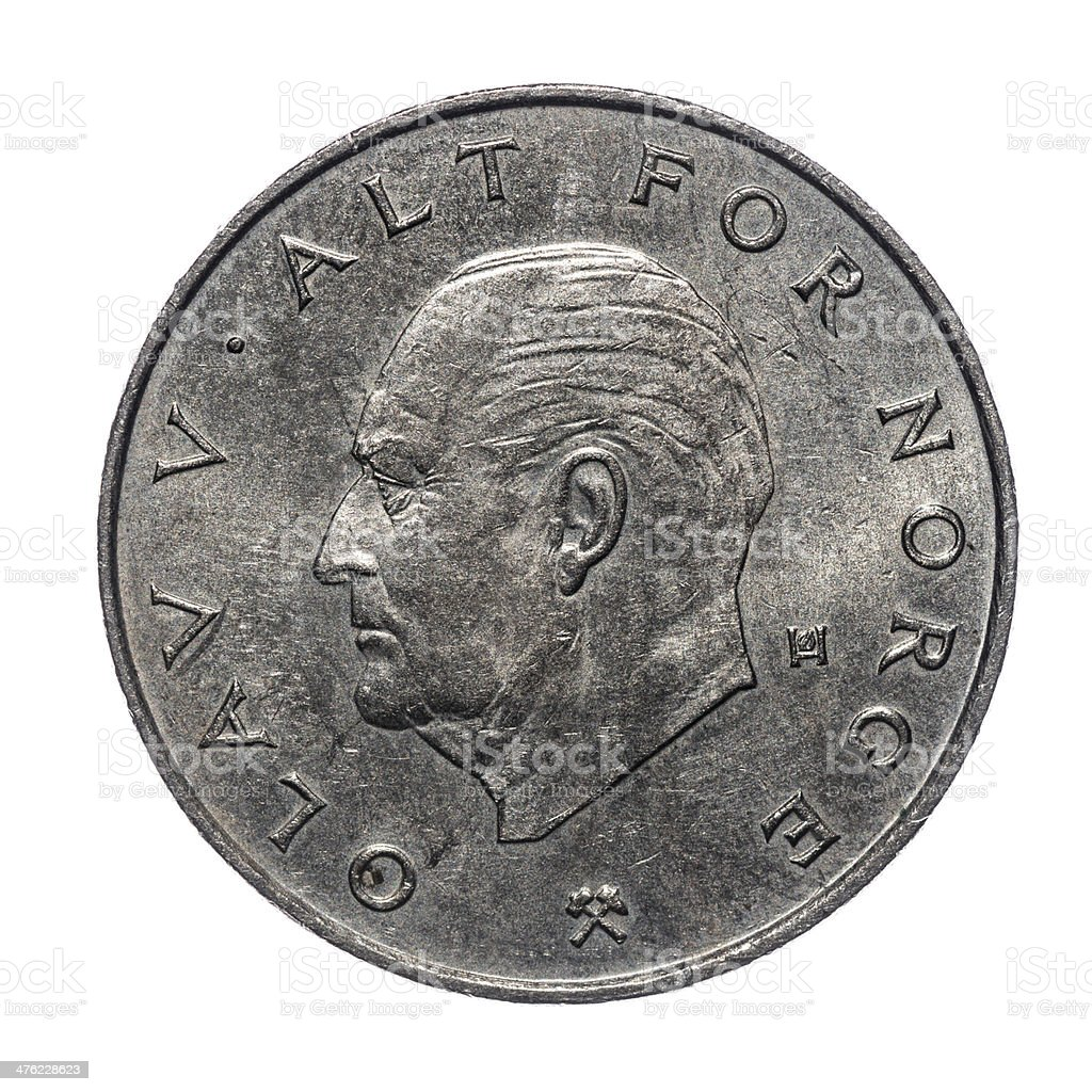 1 Norwegian Krone coin isolated on white (1983) stock photo