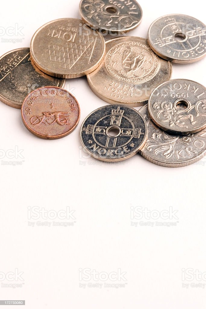 Norwegian Krone coins royalty-free stock photo