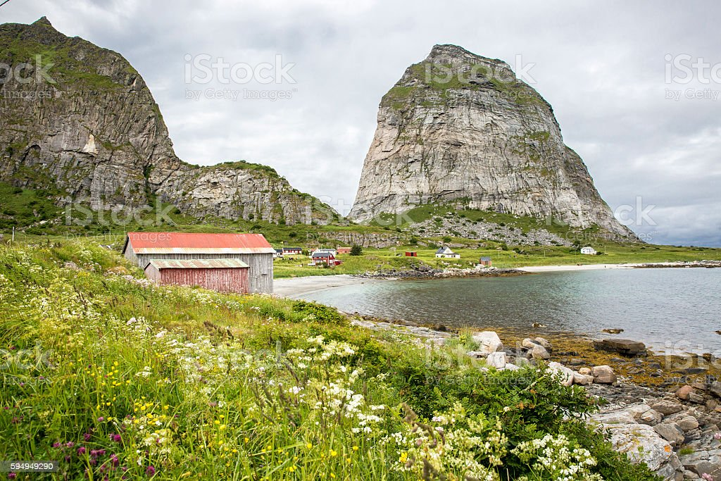 Norwegian landscape a traditionnal village a mountain, Norway stock photo