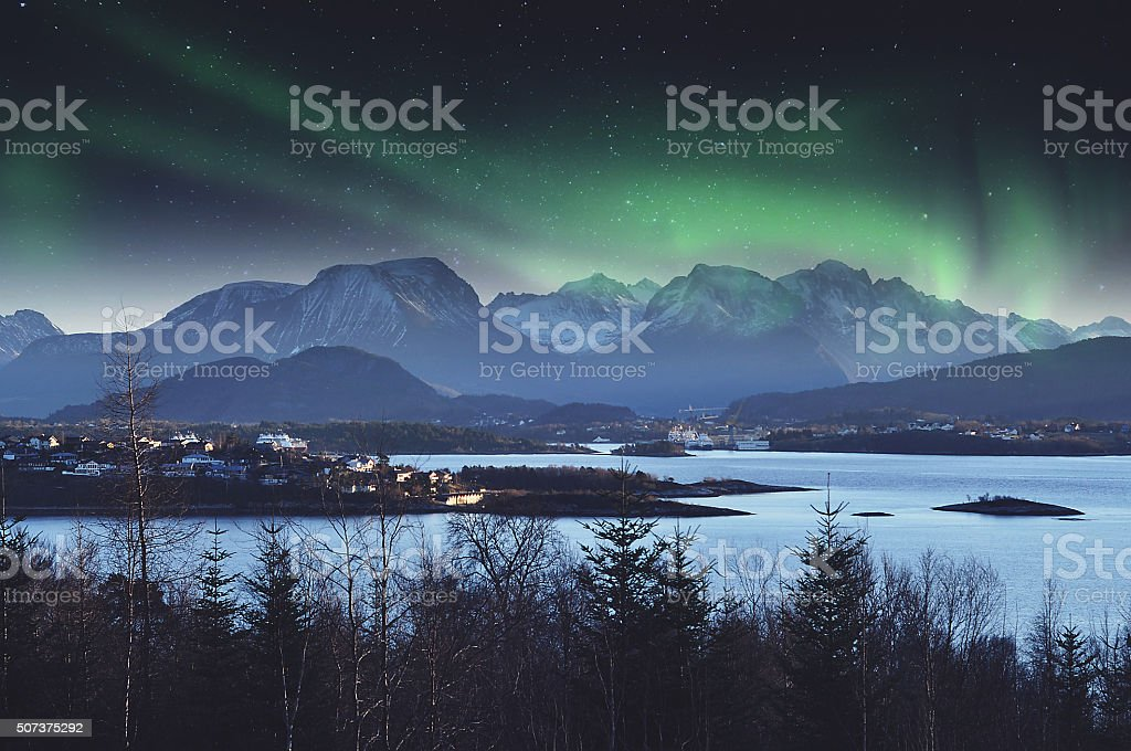 Norwegian landscape during the Northern Lights stock photo