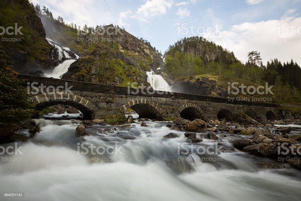 Norwegian landscape, Latefossen, Waterfall stock photo