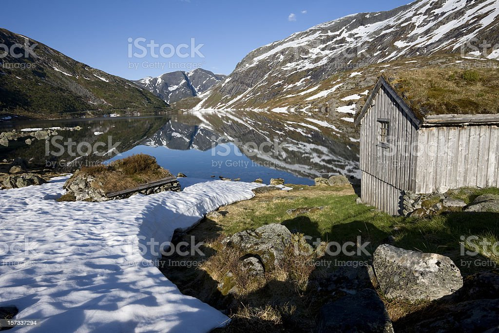 Norwegian Mountain Lake with Cabins royalty-free stock photo