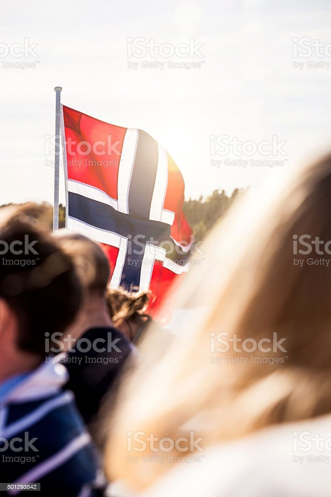 Norwegian national and crowd of people in Oslo stock photo