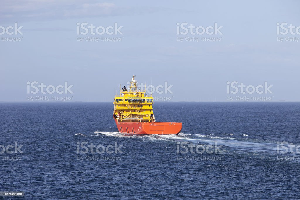 Norwegian oil rig supply ship on its way to platform. stock photo