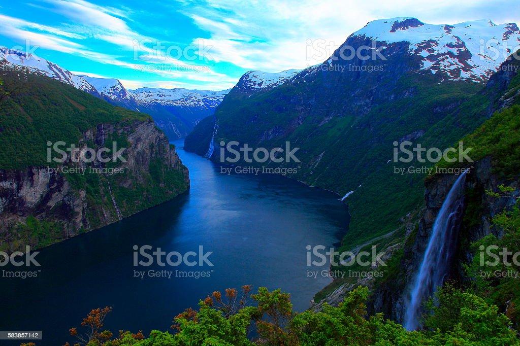 Norwegian paradise: Geirangerfjord dramatic evening landscape panorama, Norway, Scandinavia stock photo