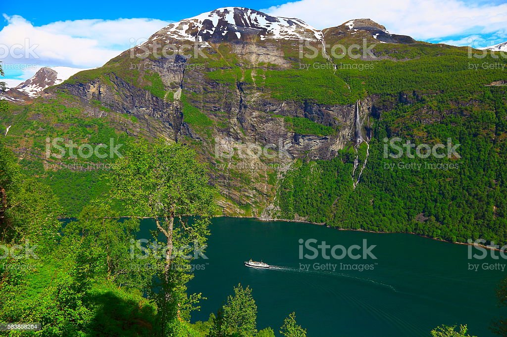 Norwegian paradise: Geirangerfjord landscape and ship crossing Waters, Norway, Scandinavia stock photo