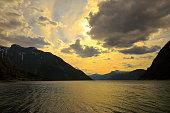 Norwegian paradise: Impressive Dramatic sunset over fjord, Norway, Scandinavia