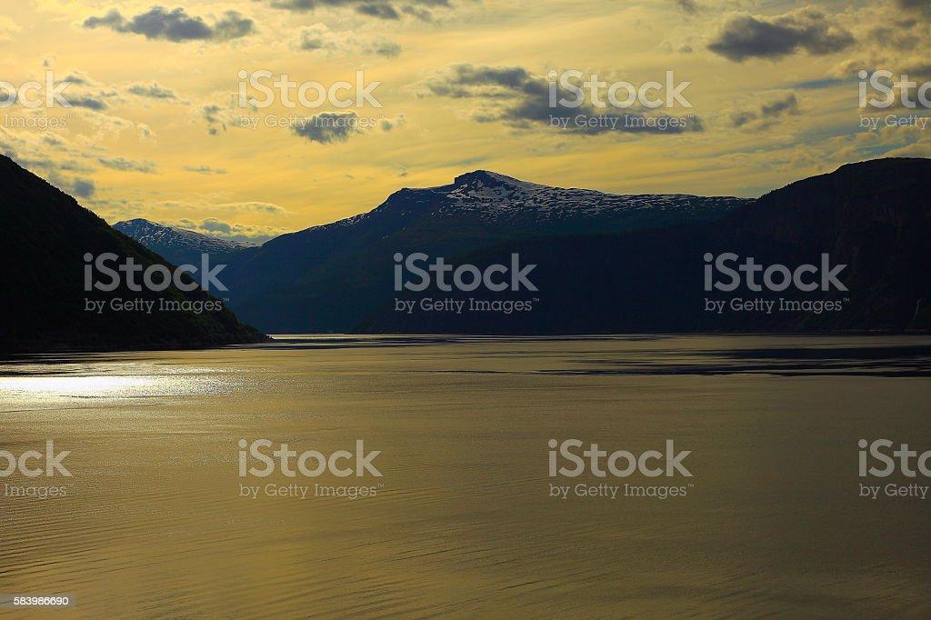 Norwegian paradise: Impressive Dramatic sunset over fjord, Norway, Scandinavia stock photo