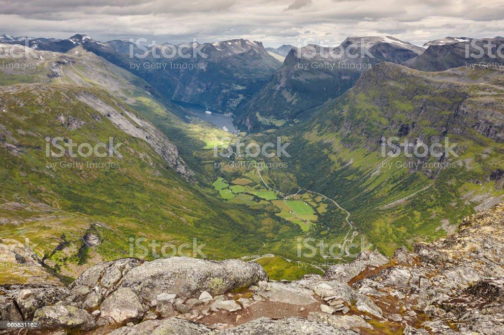 Norwegian rocky mountain landscape. Geiranger. Norway highlight. stock photo