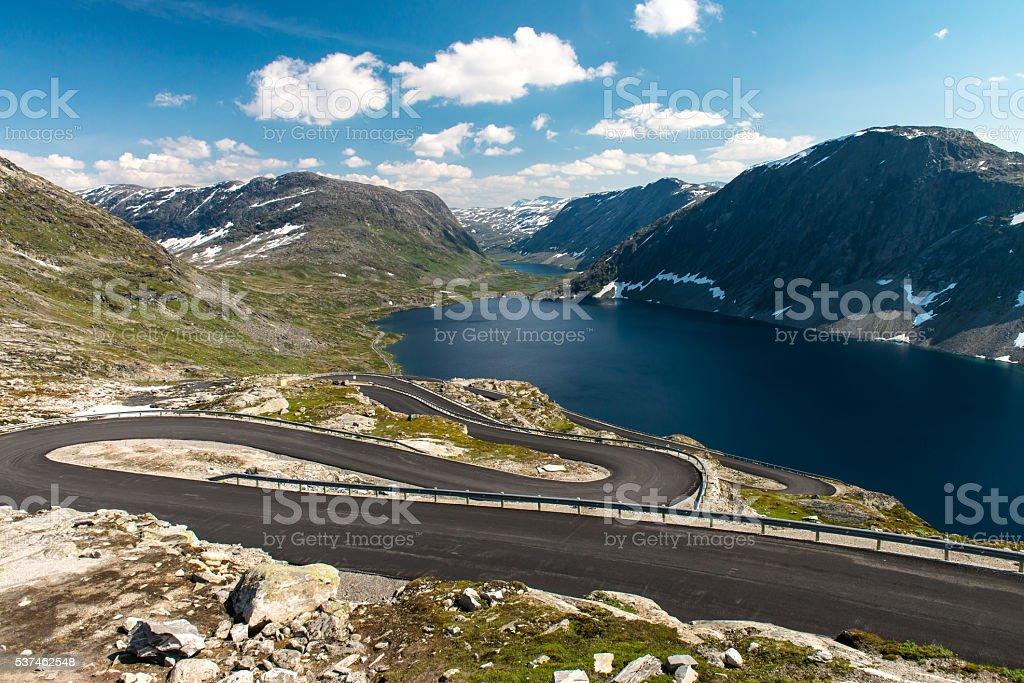 Norwegian serpentine road stock photo