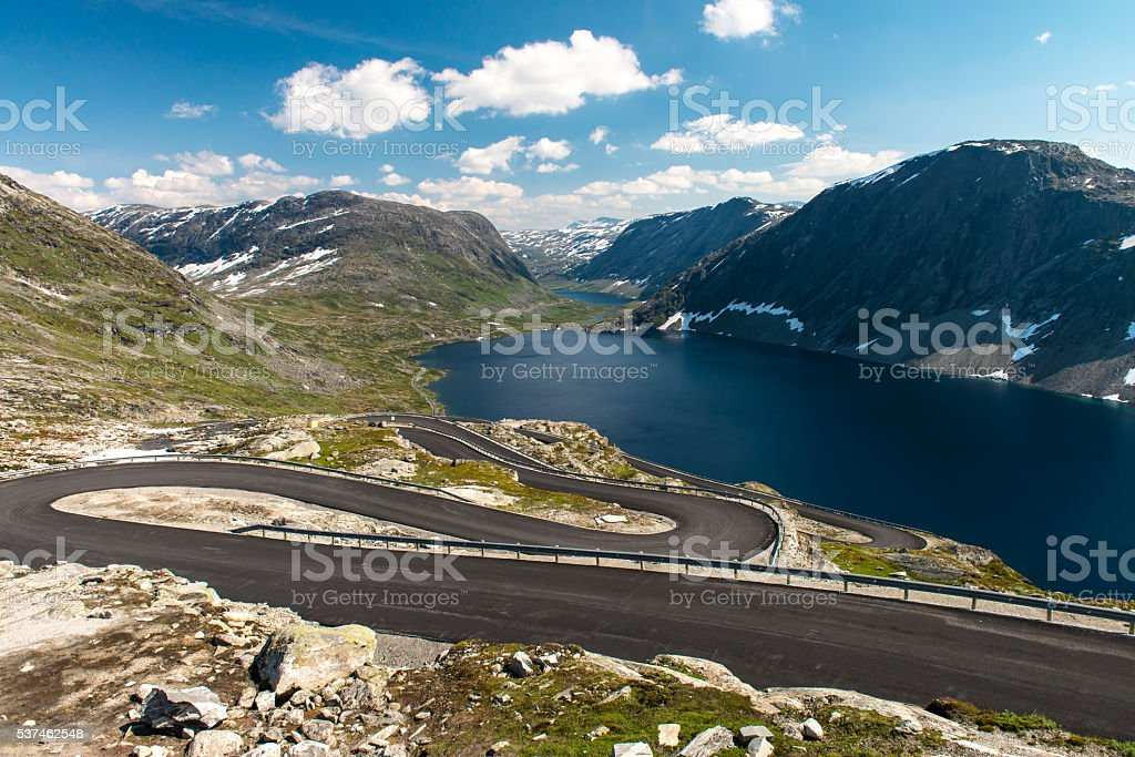 Norwegian serpentine road stock photo