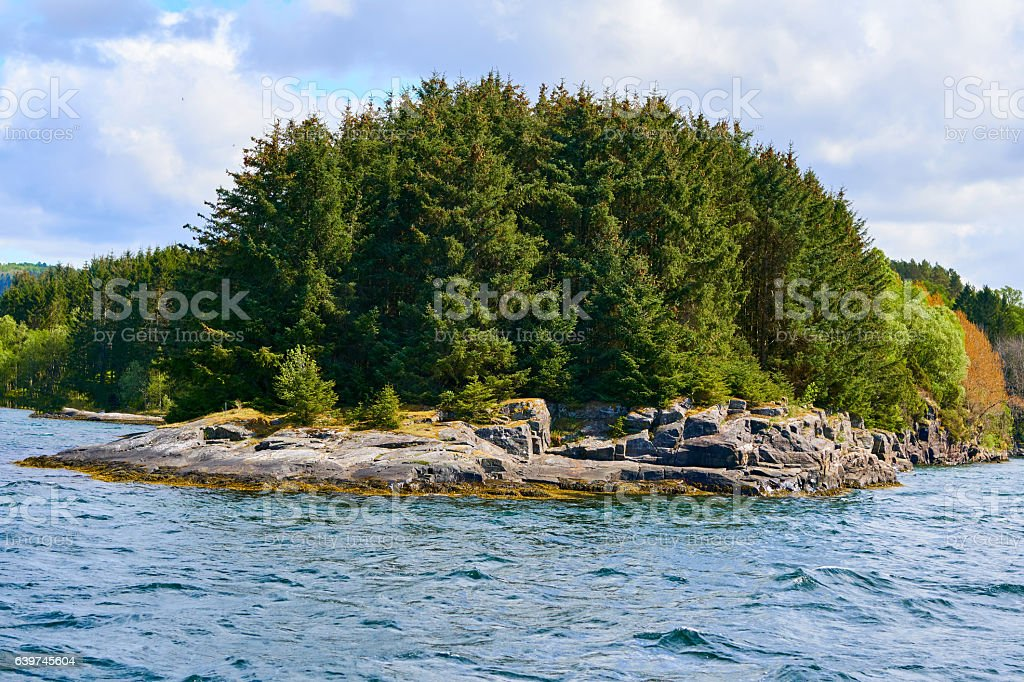 Norwegian shore near Bergen stock photo