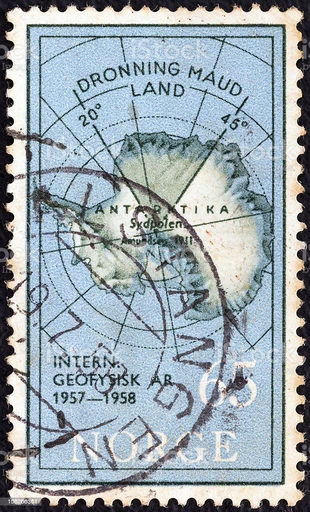 Norwegian stamp shows Map of Antarctica (1957) stock photo