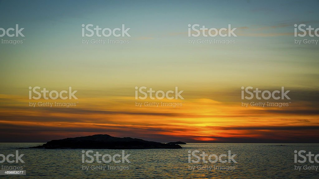 Norwegian sunset stock photo