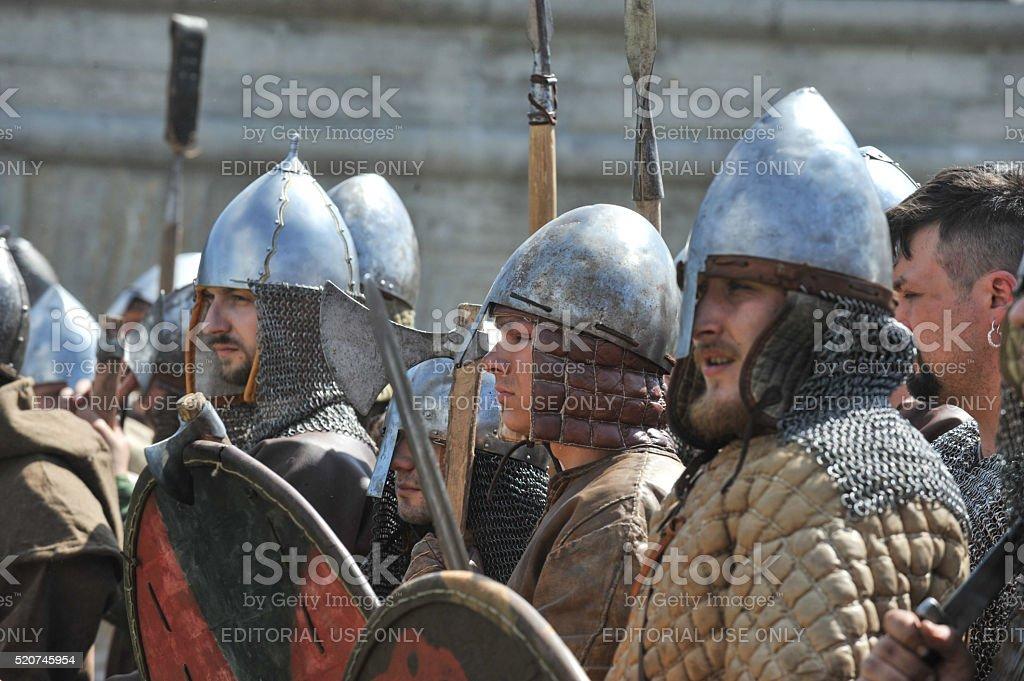 Norwegian Vikings in St. Petersburg stock photo