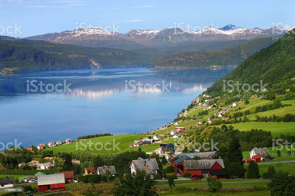 Norwegian village and fjord royalty-free stock photo
