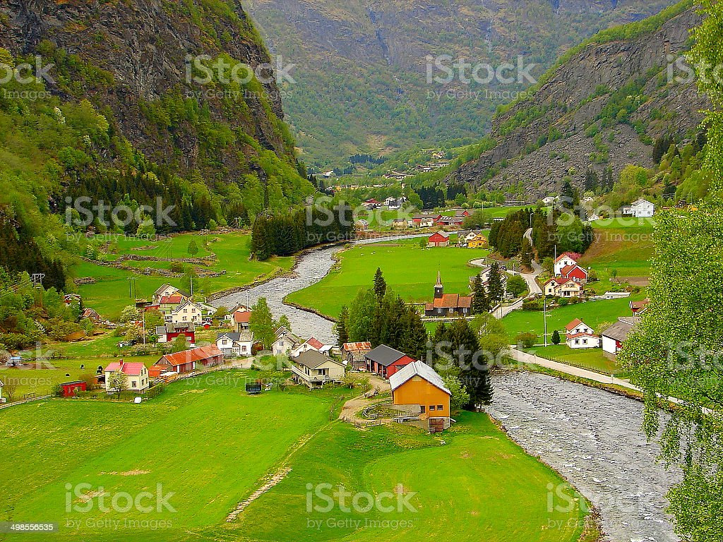Norwegian village green valley near Flam, Norway, Nordics stock photo