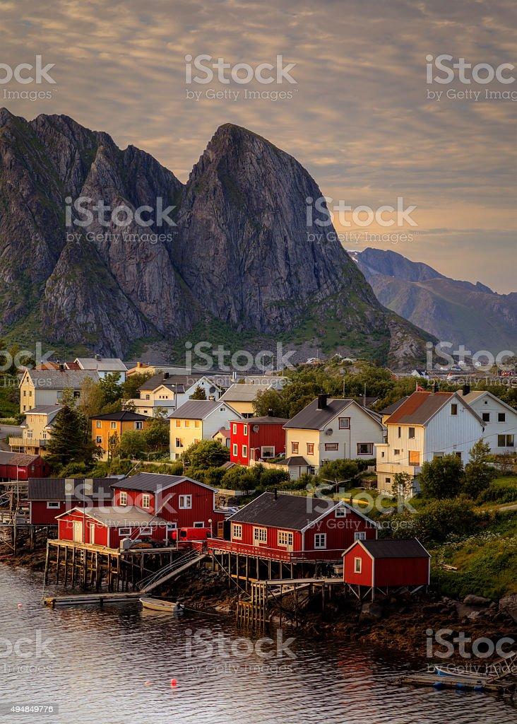 Norwegian Village in Lofoten islands stock photo