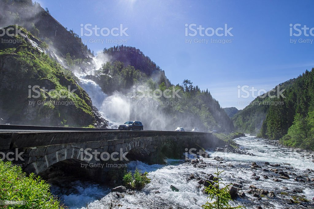 Norwegian waterfall Latefossen stock photo