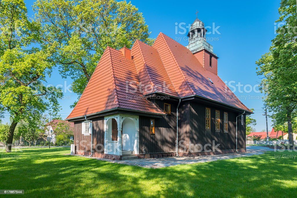 Norwegian wooden church in Krzesiny - Poznan stock photo