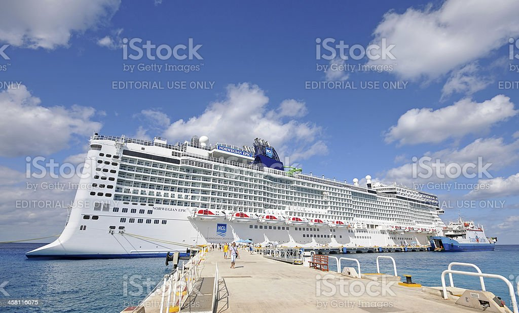 Norwegian's Epic visiting Cancun, Mexico royalty-free stock photo