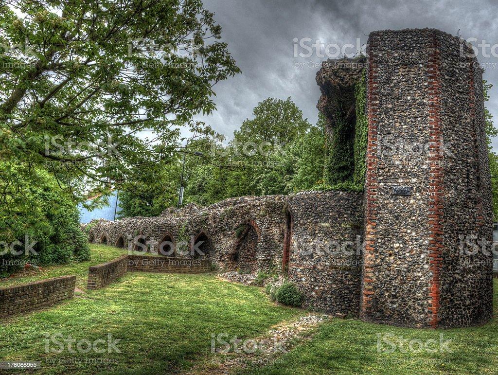 Broken mur de ville de Norwich photo libre de droits