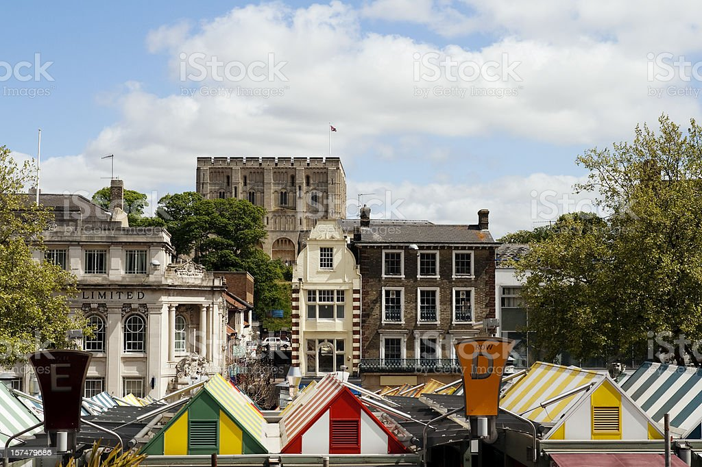 Norwich Castle and market stock photo
