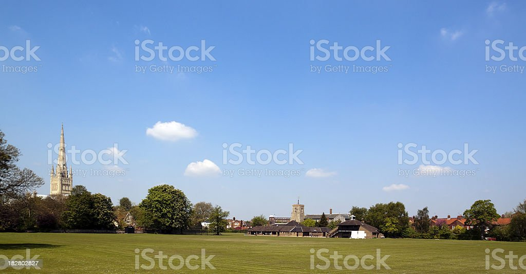 Norwich Cathedral and St Helen's Church stock photo