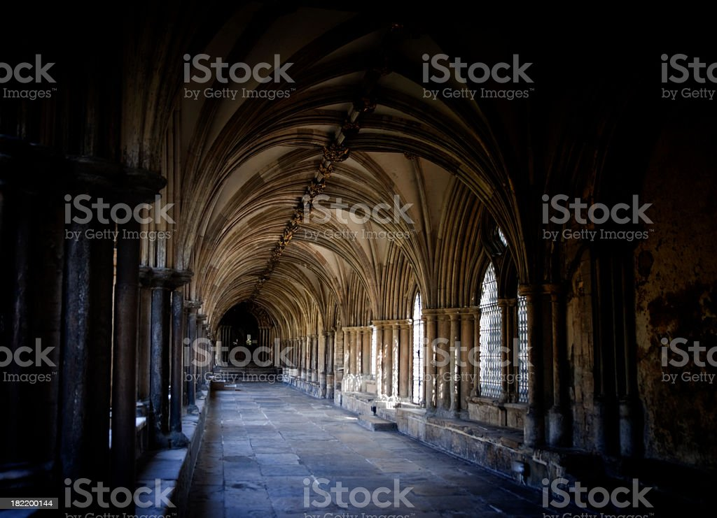 Norwich Cathedral cloister and ceiling stock photo