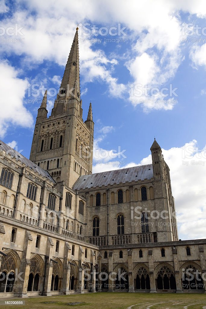Norwich Cathedral from the Labyrinth royalty-free stock photo