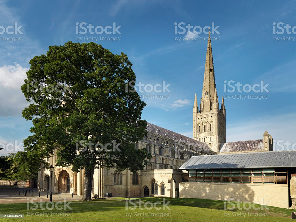 Norwich Cathedral In England - Stock Image stock photo