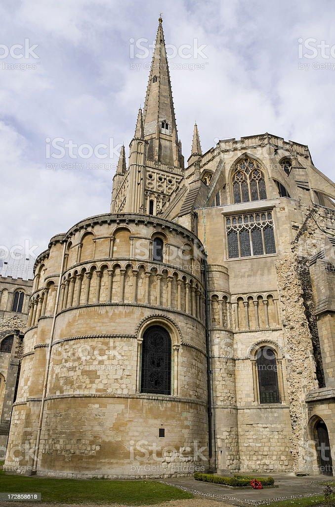 Norwich Cathedral with the grave of Edith Cavell royalty-free stock photo