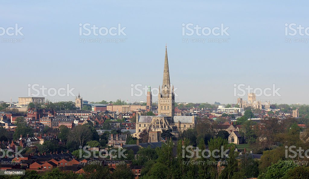 Norwich city centre in England stock photo