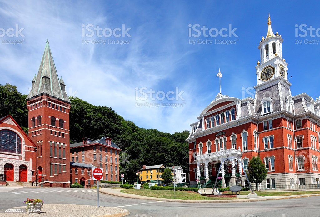 Norwich City Hall and Downtown District stock photo