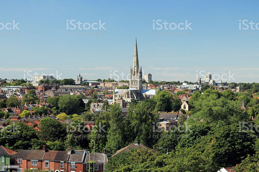 Norwich City on a Summer's Day stock photo
