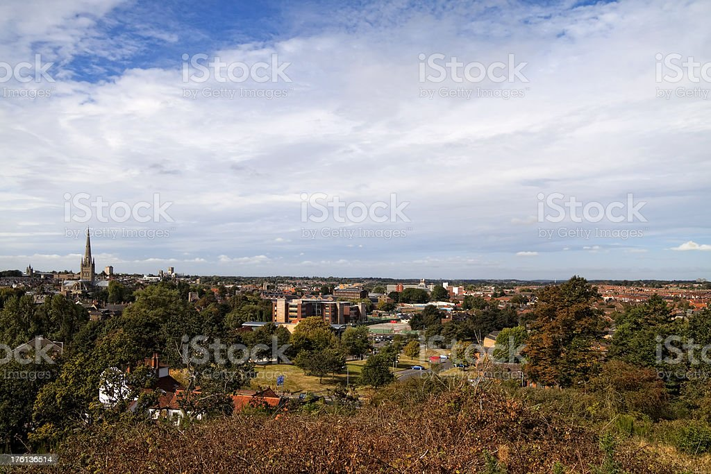 Norwich from Mousehold Heath stock photo